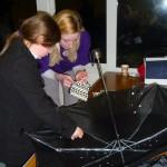 Making an umbrella planetarium.